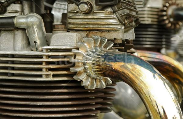ストックフォト: ヴィンテージ · オートバイ · エンジン · クローズアップ · 排気 · 速度