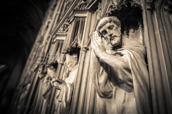Religieux sépia médiévale lieu culte mains Photo stock © nelsonart