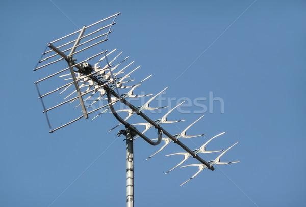 Televízió fémes tető kommunikáció információ média Stock fotó © nelsonart