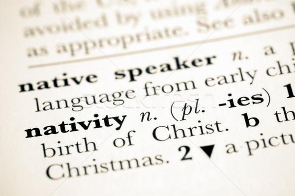 Szótár meghatározás születés Krisztus templom Biblia Stock fotó © nelsonart