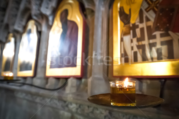 religious icons and candle Stock photo © nelsonart