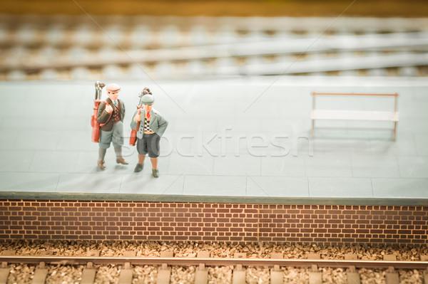 Miniatuur trein ingesteld station golfclubs Stockfoto © nelsonart