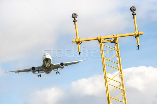 Atterrissage jet avion avion lumières ailes Photo stock © nelsonart