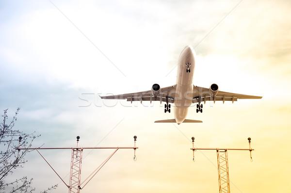 Stockfoto: Jet · abstract · helling · landing · reizen · vliegtuig