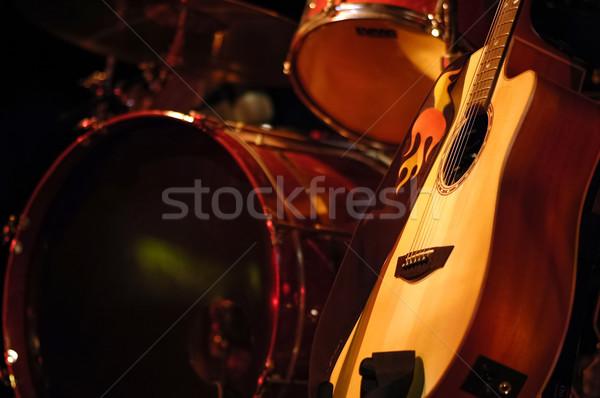 Dobok gitár akusztikus gitár színpad koncert dob Stock fotó © nelsonart