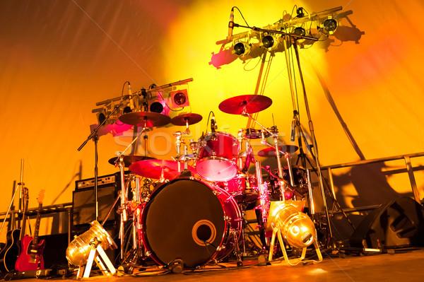 Tambores luces etapa música guitarra Foto stock © nelsonart