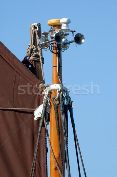 Köd agancs figyelmeztetés klasszikus vitorlás kommunikáció Stock fotó © nelsonart