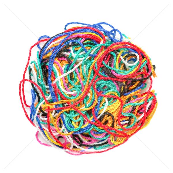 Kolorowy wełniany piłka wielobarwny wątku odizolowany Zdjęcia stock © nelsonart