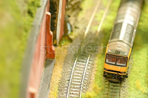Expressz vonat miniatűr modell vasút szett Stock fotó © nelsonart