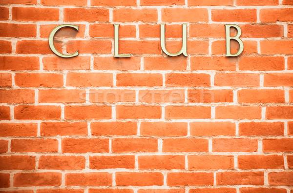 клуба знак красный кирпичная стена стены аннотация Сток-фото © nelsonart