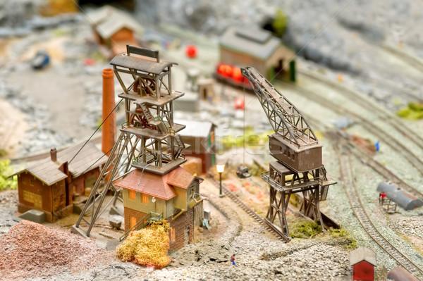 Modello carbone mining edifici treno Foto d'archivio © nelsonart
