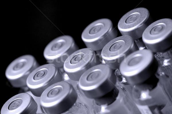 Verre vaccin bouteilles noir peu profond Photo stock © nelsonart