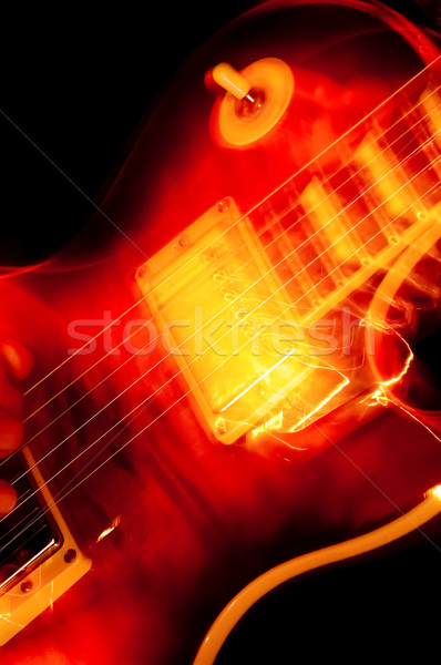 Guitarra eléctrica Blur primer plano guitarra rojo Foto stock © nelsonart