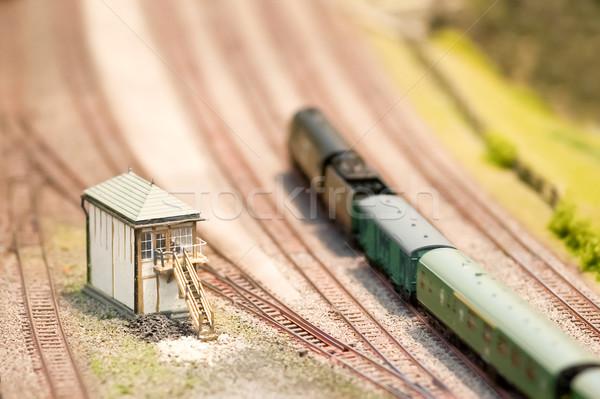 Model sygnał polu lokomotywa miniatura pociągu Zdjęcia stock © nelsonart