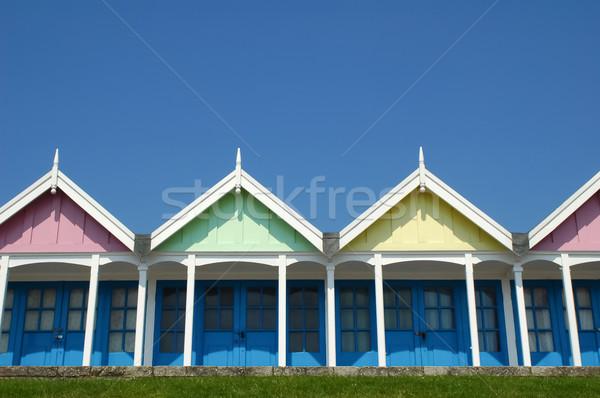 пляж красочный Blue Sky дома лет Сток-фото © nelsonart