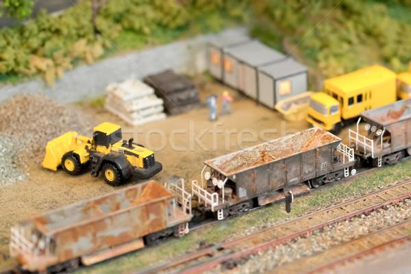 железная дорога строительство миниатюрный модель строительная площадка мелкий Сток-фото © nelsonart