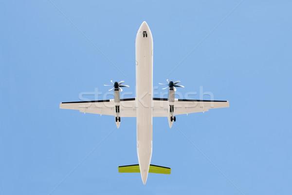 Propeller repülőgép leszállás viselet lefelé kék Stock fotó © nelsonart