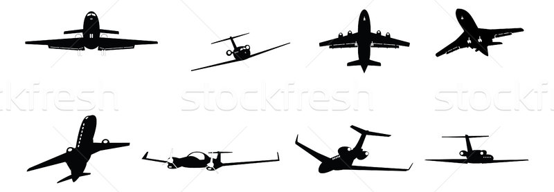 üzlet repülőgép szett sziluett illusztrációk fehér Stock fotó © nelsonart