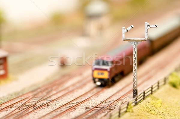 Vasút miniatűr mozdony sekély mélységélesség vonat Stock fotó © nelsonart