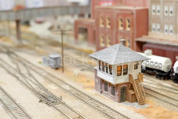 Vonat szett jel doboz miniatűr modell Stock fotó © nelsonart