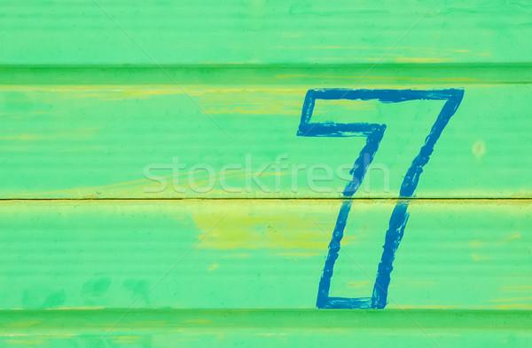 Stok fotoğraf: Yedi · numara · boyalı · Metal · kapı