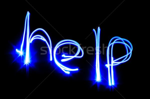 помочь знак написанный синий свет черный Сток-фото © nelsonart