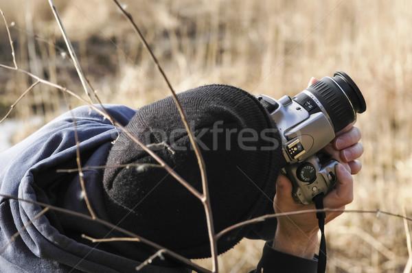 Fotógrafo ao ar livre dslr câmera tecnologia ao ar livre Foto stock © nelsonart