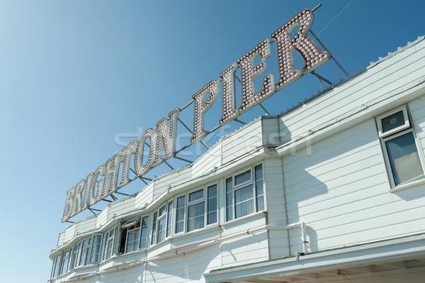 Pier signe une haut touristiques Photo stock © nelsonart