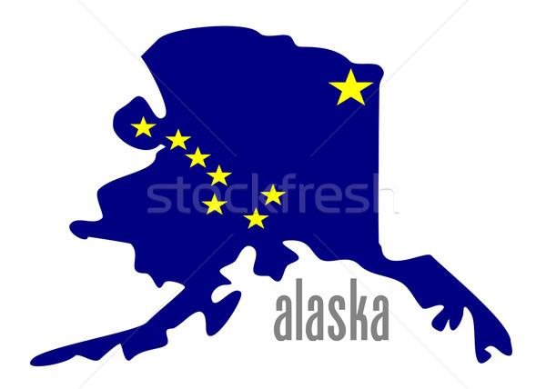 Alaska contorno bandiera illustrazione stelle blu Foto d'archivio © nelsonart