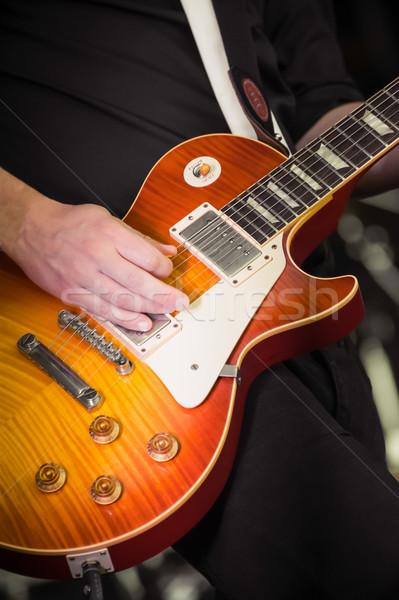 электрической гитаре музыканта играет музыку стороны Сток-фото © nelsonart