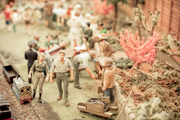 Miniature jardinage scène modèle résumé amusement Photo stock © nelsonart
