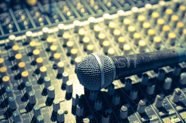 Micro stade éclairage musique théâtre sonores Photo stock © nelsonart