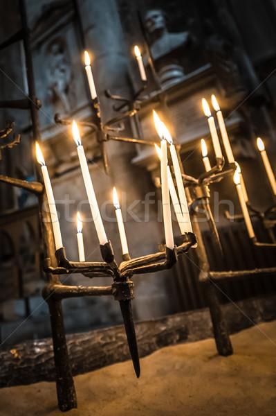 ゴシック キャンドル 燃焼 暗い 建物 教会 ストックフォト © nelsonart