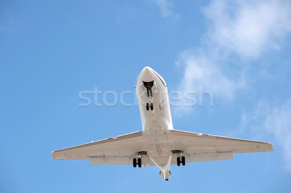 Affaires jet atterrissage ciel bleu bleu Voyage Photo stock © nelsonart