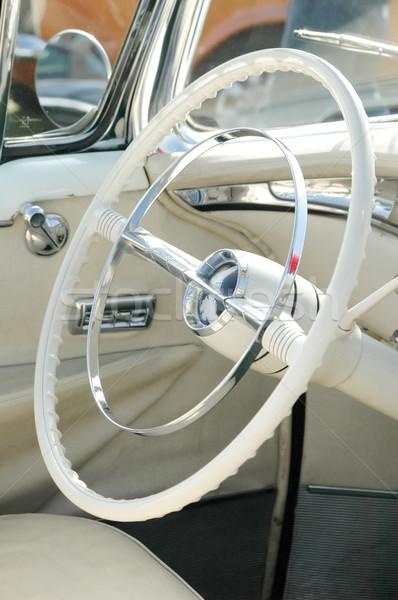 Fehér kormánykerék klasszikus autó autók fém Stock fotó © nelsonart