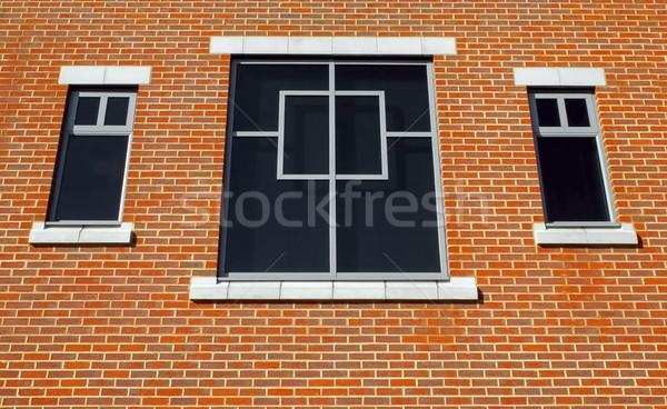 кирпича Windows три окна простой кирпичная стена Сток-фото © nelsonart