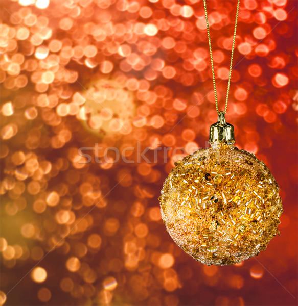 Altın Noel top bulanık ışıklar gece Stok fotoğraf © nemalo