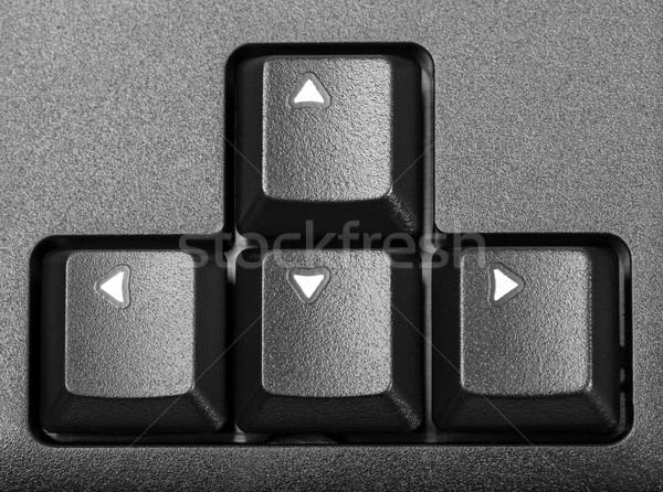 Elektronikus gyűjtemény nyilak számítógép billentyűzet részlet fekete Stock fotó © nemalo
