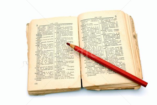 Vecchio libro dizionario open bianco carta rosso Foto d'archivio © nemalo