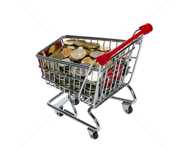 Carrinho de compras dinheiro isolado branco fundo compras Foto stock © nemalo