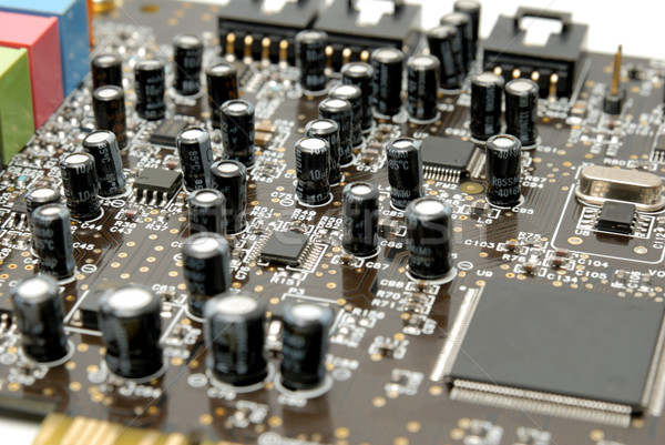 Fragment of a computer printed-circuit-board Stock photo © nemalo