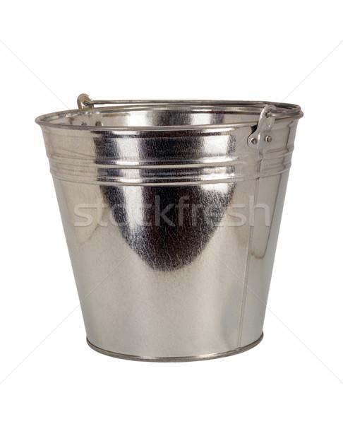 Zink emmer metalen geïsoleerd witte retro Stockfoto © nemalo