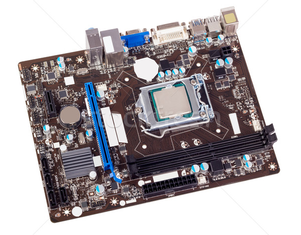 Electronic collection - Computer motherboard without CPU cooler Stock photo © nemalo