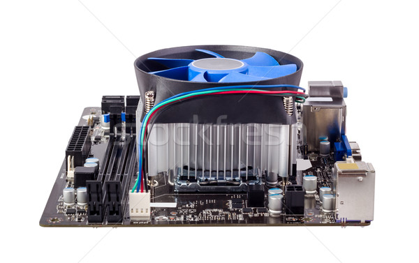 Electronic collection - Computer motherboard with CPU cooler Stock photo © nemalo