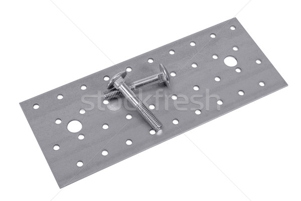 Perforated metal plate furniture screw and nuts Stock photo © nemalo