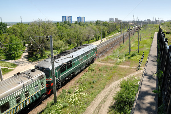Russia. Volgograd. A diesel locomotive on tracks. Stock photo © nemalo