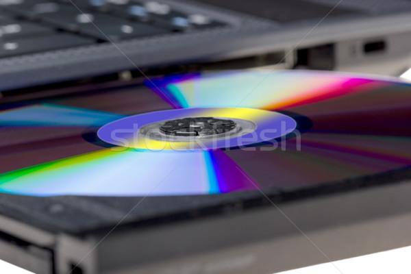 Elektronikus gyűjtemény laptop nyitva tálca izolált Stock fotó © nemalo