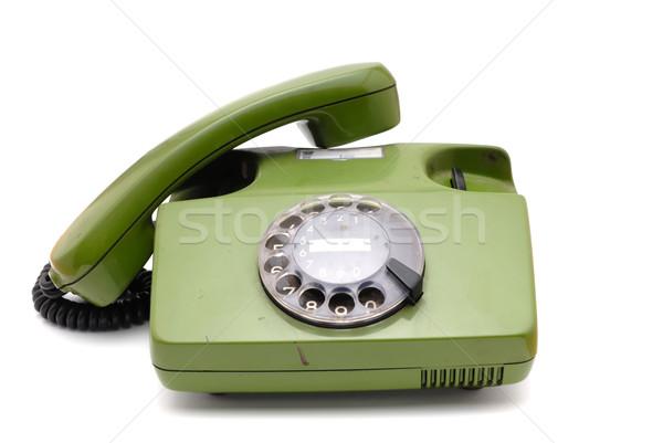 Stockfoto: Oude · analoog · schijf · telefoon · witte · telefoon