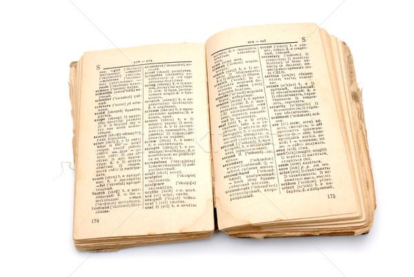 Vieux livre dictionnaire ouvrir blanche papier lecture Photo stock © nemalo