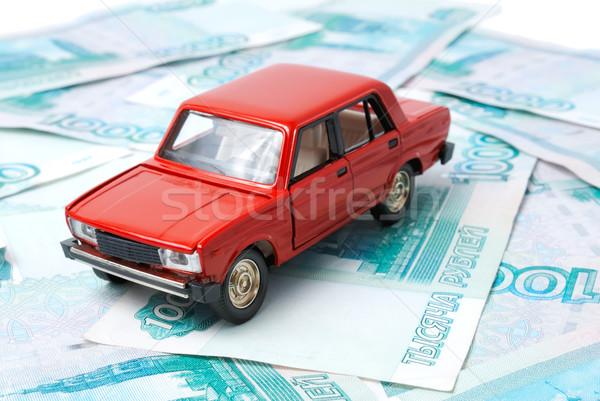 Auto geld speelgoed bankbiljetten abstract teken Stockfoto © nemalo